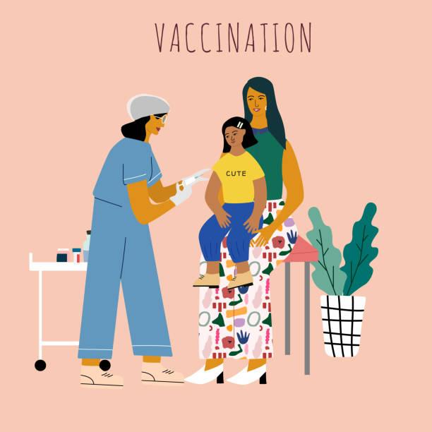 illustrations, cliparts, dessins animés et icônes de concept de vaccination et de vaccination des enfants. enfant sur les genoux de mères allant faire une injection de vaccin.  docteur pédiatre avec une seringue et des gants vaccinant un enfant. illustration de vecteur. - vaccin enfant