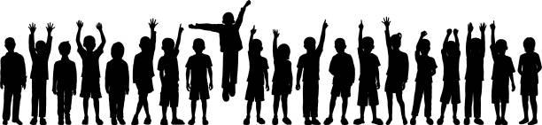 kinder (jedes kind ist complete-clipping path versteckt die beine) - kind stock-grafiken, -clipart, -cartoons und -symbole