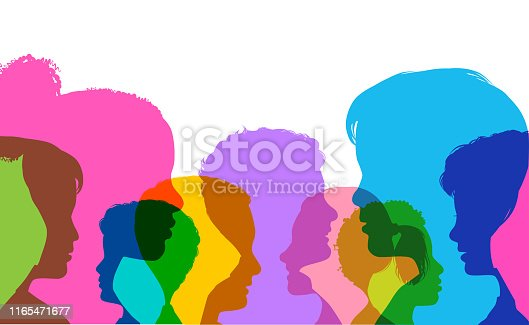 Colourful silhouettes of childrens heads