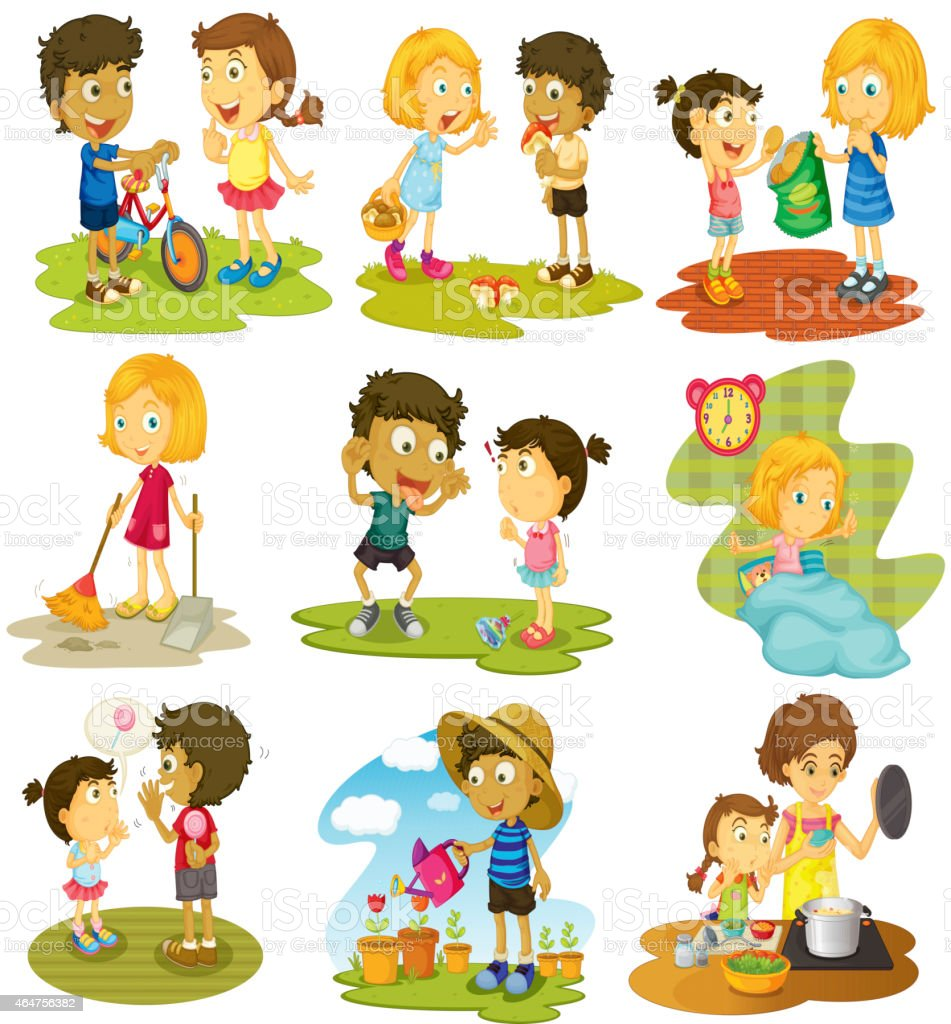 Children vector art illustration
