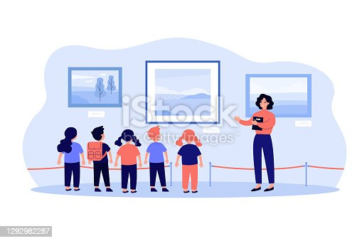 Children visiting museum excursion, standing at picture and listening to guide. Vector illustration for art gallery, cultural education, exhibition concepts