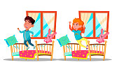 Children Waking Up Vector Cartoon Characters Set