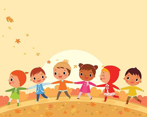 bildbanksillustrationer, clip art samt tecknat material och ikoner med children walk on a beautiful autumn day - children autumn