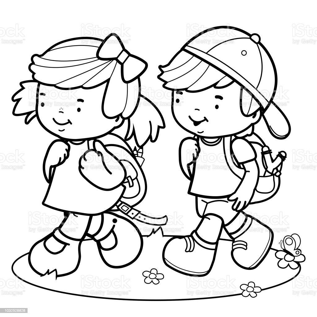 Ilustración De Los Niños Caminan A La Escuela Blanco Y Negro