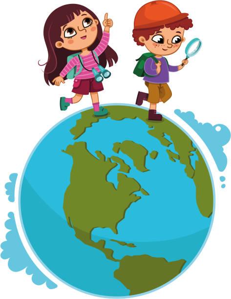 ilustrações, clipart, desenhos animados e ícones de crianças andando no planeta. - explorador