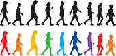 Vector illustration of nine children walking silhouettes.