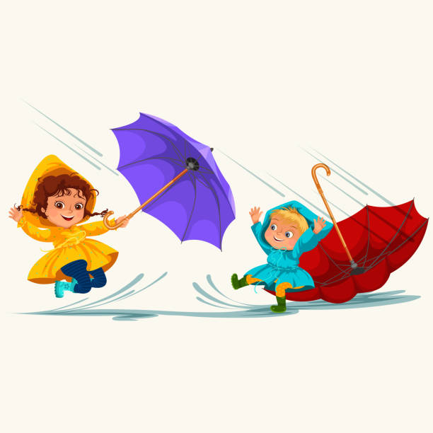 children walking under raining sky with an umbrella, drops of rain are dripping into puddles, raining boy and girl in waterproof jacket and rubber boots jumping over water vector illustration - kids playing in rain stock illustrations, clip art, cartoons, & icons