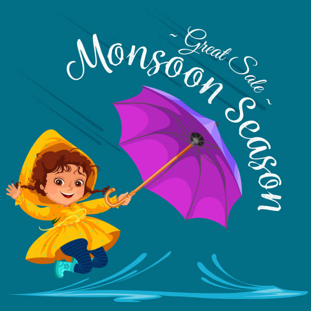 children walking under raining sky with an umbrella, drops of rain are dripping into puddles, raining boy or girl in waterproof jacket and rubber boots jumping over water vector illustration - kids playing in rain stock illustrations, clip art, cartoons, & icons