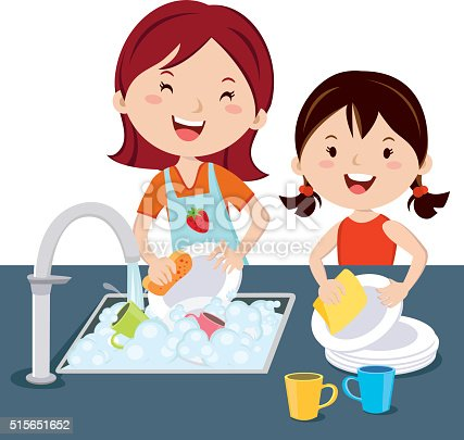 Children Washing Dishes Stock Vector Art & More Images of ...