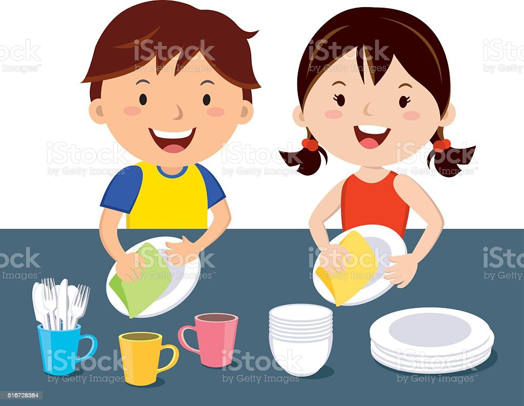 Children washing dishes vector art illustration