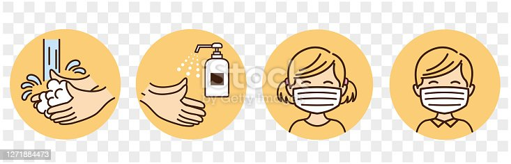 istock children washing hands mask gargling illustration vector 1271884473