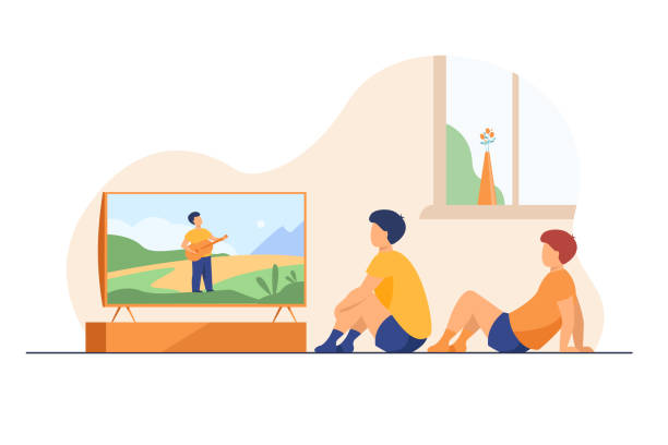 Children watching movie or show at home Children watching movie or show at home. Boys sitting at TV screen. Vector illustration for video, broadcasting, channel for kids concept family watching tv stock illustrations