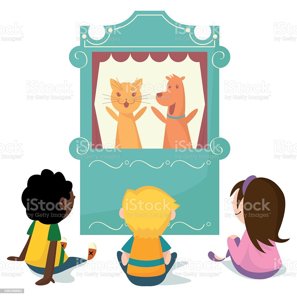Children watching puppet show vector art illustration