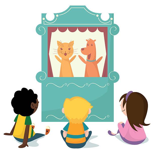 어린이 관찰 퍼펫인형 보여주다 - 퍼펫인형 stock illustrations