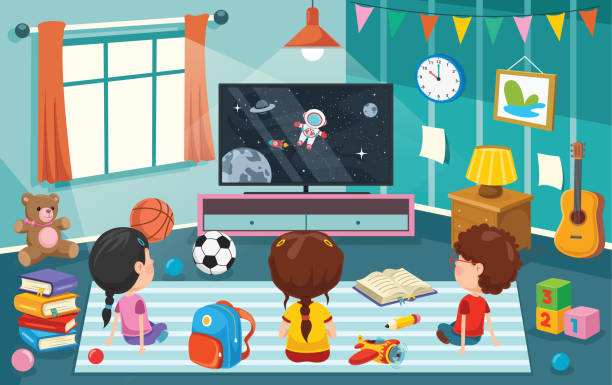 Children Watching Television In A Room Children Watching Television In A Room watching tv stock illustrations
