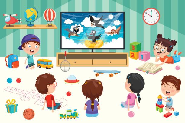ilustrações, clipart, desenhos animados e ícones de crianças que prestam atenção à televisão em um quarto - salas de aula