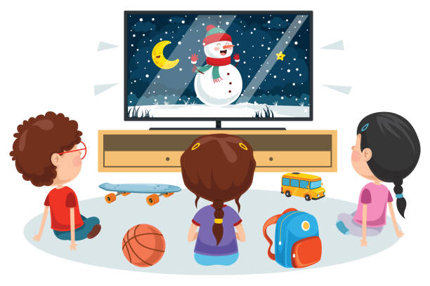 illustrazioni stock, clip art, cartoni animati e icone di tendenza di bambini che guardano la televisione in una stanza - christmas movie