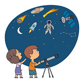 istock Children Watching through Telescope 1311337231