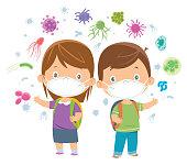 Vector Children wearing a mask