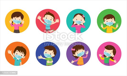 istock children wearing a surgical mask to prevent virus 1203233862