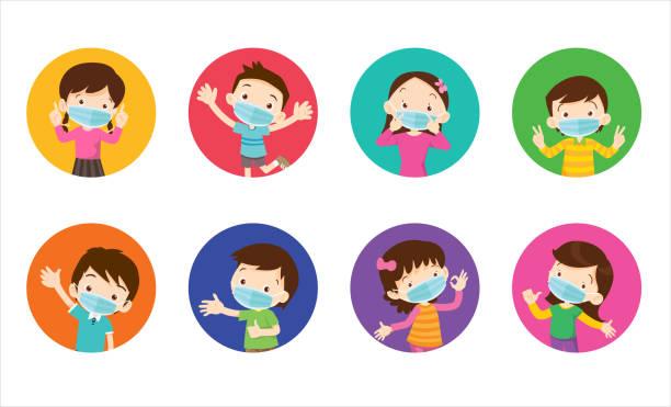 illustrations, cliparts, dessins animés et icônes de enfants portant un masque chirurgical pour prévenir le virus - enfant masque
