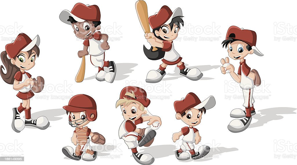 children wearing baseball uniform vector art illustration