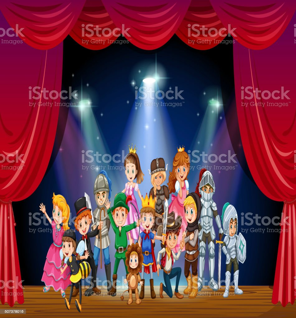 Children wearing costume on stage vector art illustration