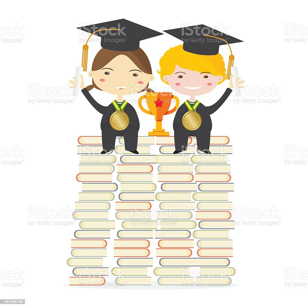 Children Wearing Graduation Suit Sitting Education Concept Lizenzfreies children wearing graduation suit sitting education concept stock vektor art und mehr bilder von bildhintergrund