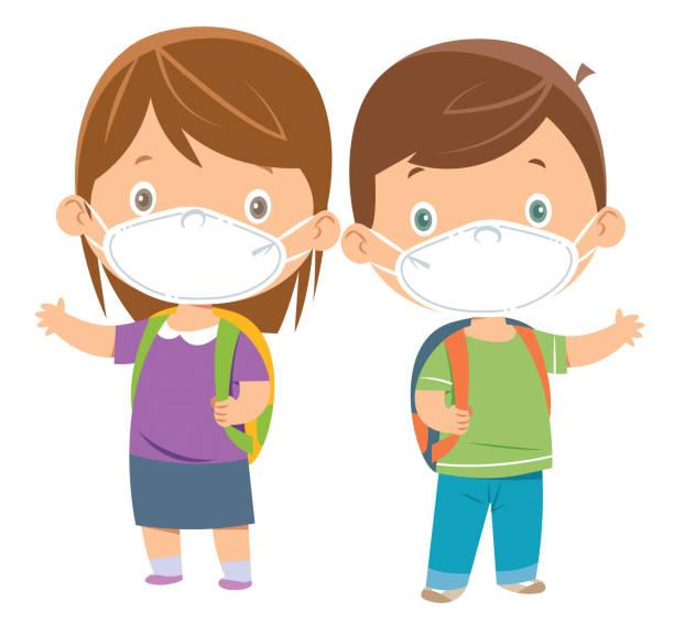 illustrations, cliparts, dessins animés et icônes de enfants utilisant des masques - enfant masque