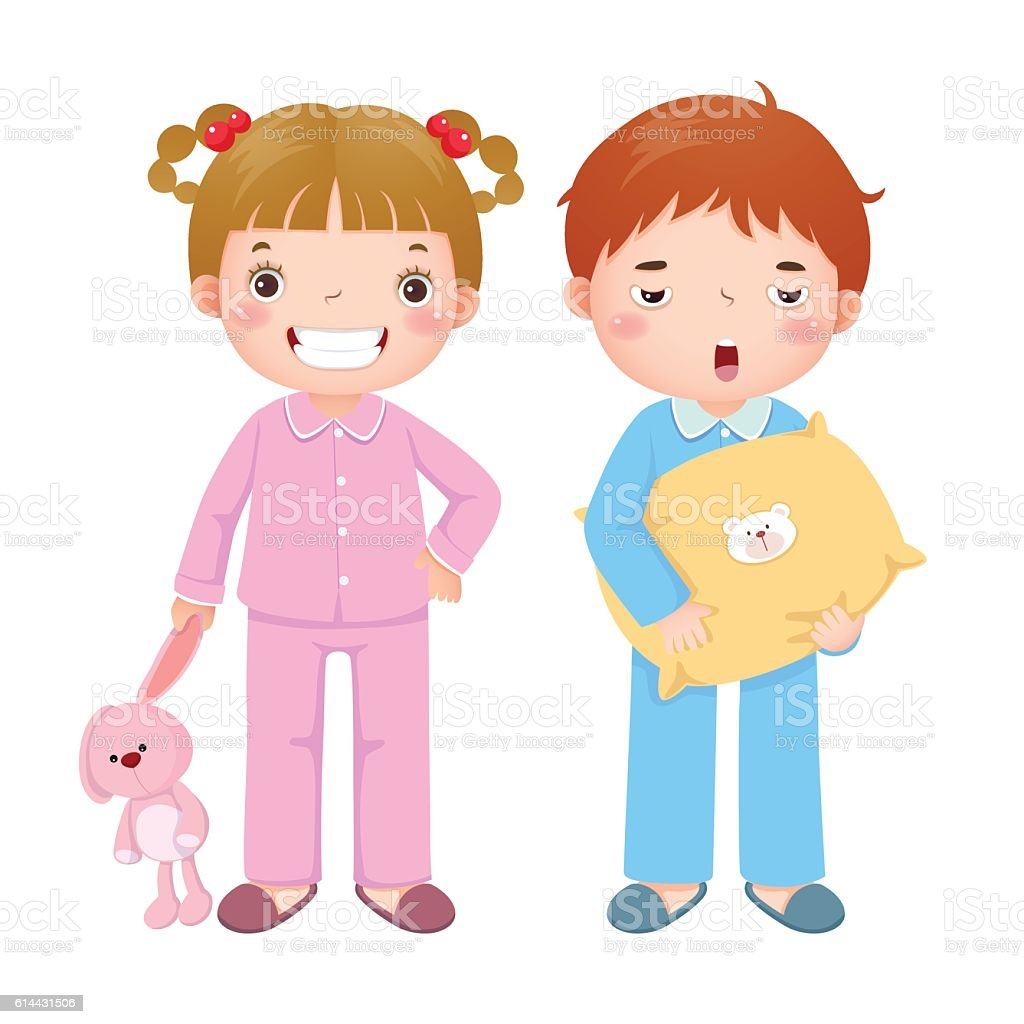 Children wearing pajamas and getting ready to sleep vector art illustration