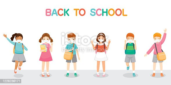 Children Wearing Surgical Mask Happy Back To School, Jumping, Cheerfully Together