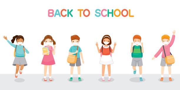 illustrations, cliparts, dessins animés et icônes de enfants portant le masque chirurgical heureux de retour à l'école, sautant, joyeusement ensemble - enfant masque