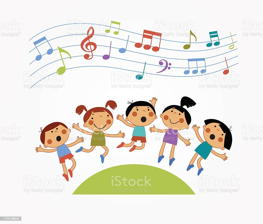 Children who are jumping and singing vector art illustration