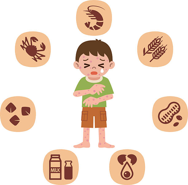 Children who suffer from allergies vector art illustration