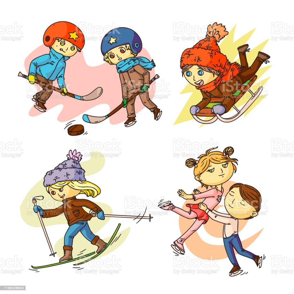Children Winter Sports Cartoon Illustrations Set Stock Illustration Download Image Now Istock