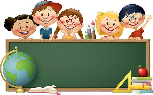 children with blackboard - back to school