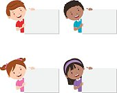 Children holding cardboard. Presentation.