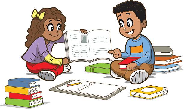 Children With Books vector art illustration