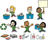 Great set of kids recycling. Perfect for schools or environmental illustrations. EPS and JPEG files included. Be sure to view my other illustrations, thanks!