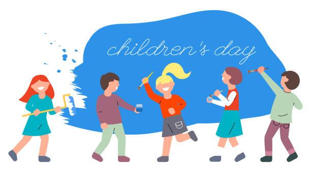 ilustraciones, imágenes clip art, dibujos animados e iconos de stock de los niños con pinceles y un rodillo pintan la pared azul. día mundial de la infancia. ilustración plana brillante con un grupo de niños sonrientes. - civil rights