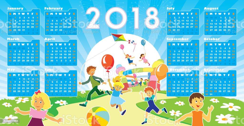 Children with Calendar 2018 vector art illustration
