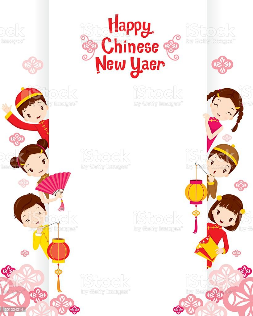 Children With Chinese New Year Banner Stock Illustration ...