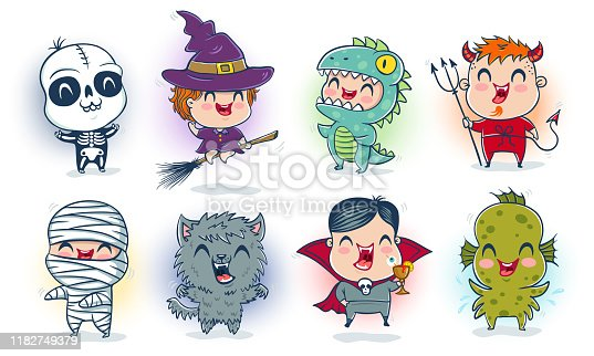 Vector illustration of children with costumes for Halloween in kawaii style. Illustration of a cute kids in monsters costumes. Halloween monsters