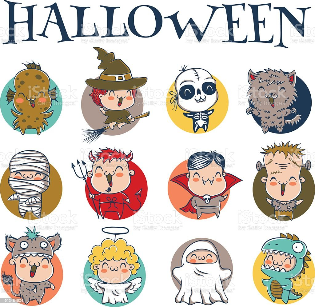 children with costumes for Halloween vector art illustration