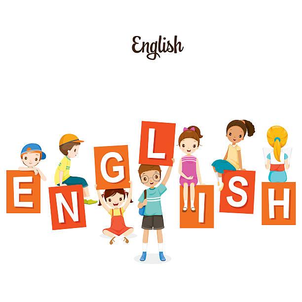 kinder mit englische alphabete - englischlernende stock-grafiken, -clipart, -cartoons und -symbole