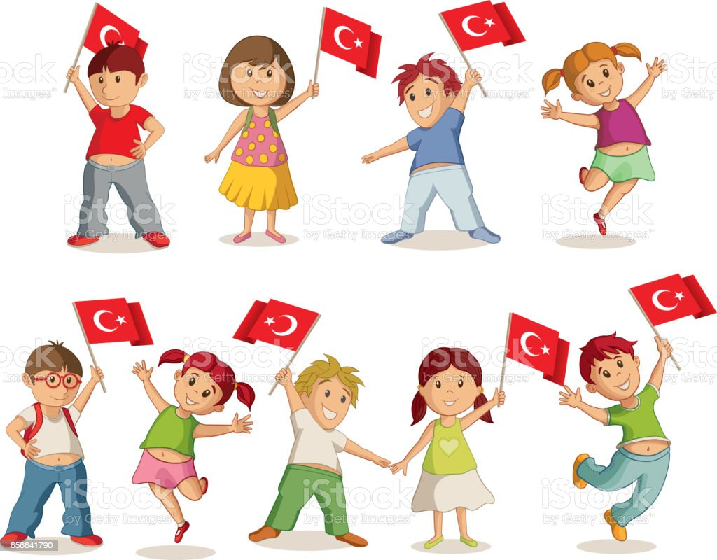 Children with flags vector art illustration