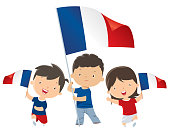 Vector children with France flags