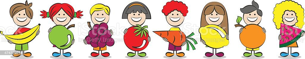 Kinder mit Obst und Gemüse-Vektor-Comic – Vektorgrafik