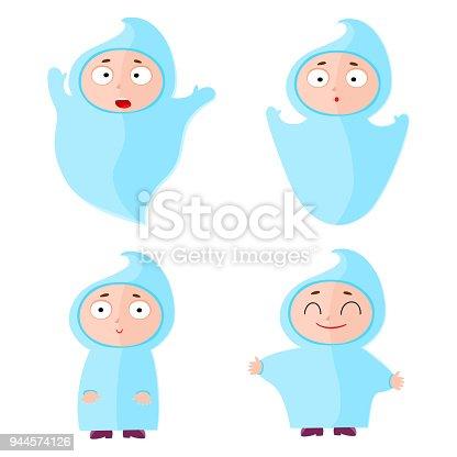 istock Children with halloween costumes ghost. Cheerful children figur 944574126