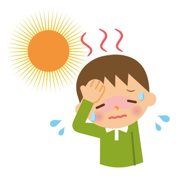 Children with heat stroke. Children with heat stroke. heat wave stock illustrations